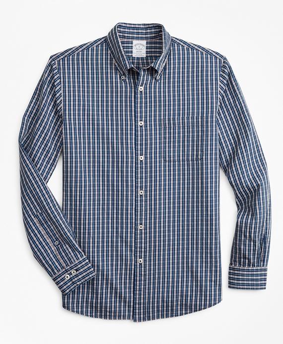 Regent Regular-Fit Sport Shirt, Indigo Micro-Check Navy