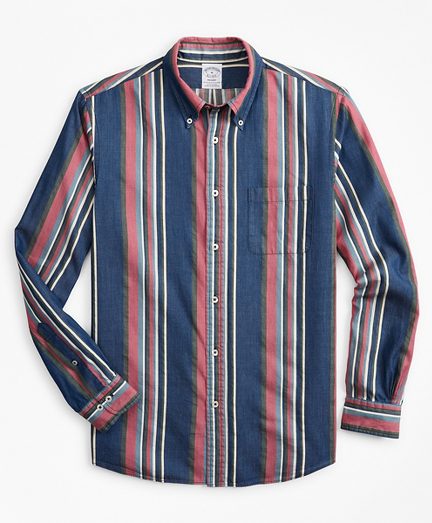 Regent Fitted Sport Shirt, Indigo Awning Stripe