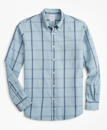 Regent Fitted Sport Shirt, Indigo Windowpane
