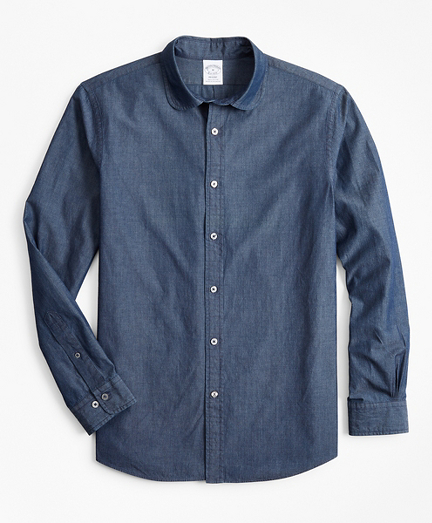 Regent Fitted Sport Shirt, Golf Collar Chambray