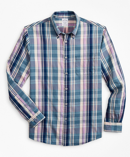 Regent Fitted Sport Shirt, Indigo Multi-Plaid
