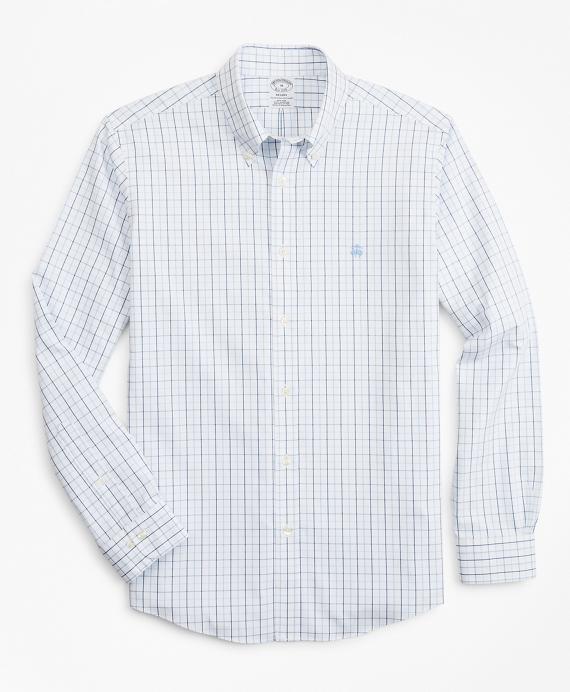 Stretch Regent Regular-Fit Sport Shirt, Non-Iron Windowpane Blue