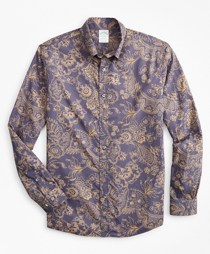 Milano Slim-Fit Sport Shirt, Outline Floral Print