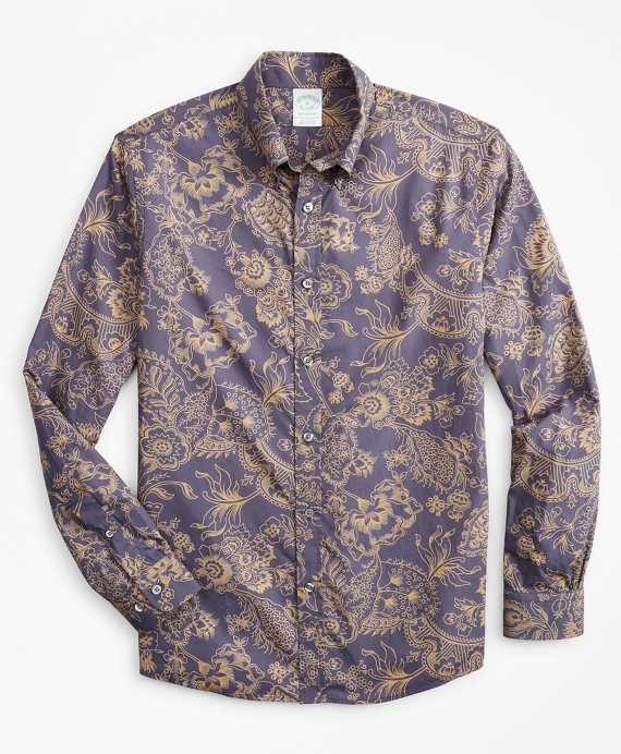 Milano Slim-Fit Sport Shirt, Outline Floral Print Blue
