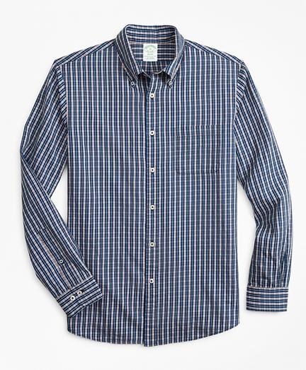 Milano Slim-Fit Sport Shirt, Indigo Micro-Check