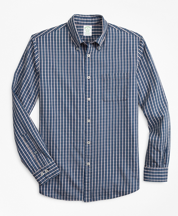 Milano Slim-Fit Sport Shirt, Indigo Micro-Check Blue