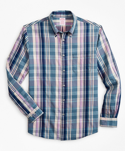 Madison Classic-Fit Sport Shirt, Indigo Multi-Plaid