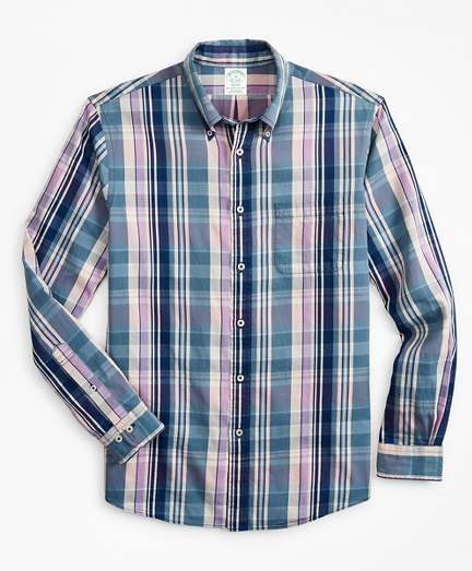 Milano Slim-Fit Sport Shirt, Indigo Multi-Plaid