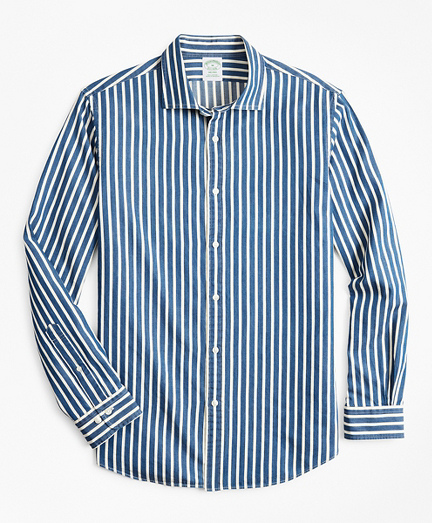 Milano Slim-Fit Sport Shirt, Indigo Stripe