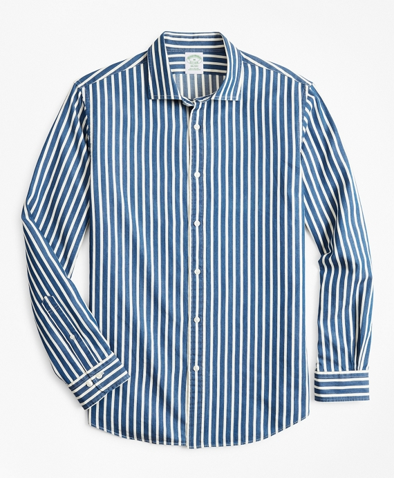 Milano Slim-Fit Sport Shirt, Indigo Stripe Blue