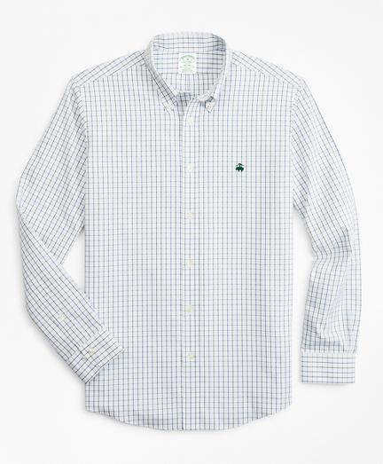 Stretch Milano Slim-Fit Sport Shirt, Non-Iron Windowpane