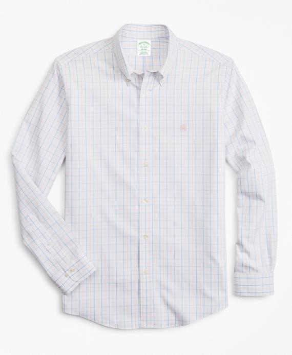 Stretch Milano Slim-Fit Sport Shirt, Non-Iron Windowpane Pink