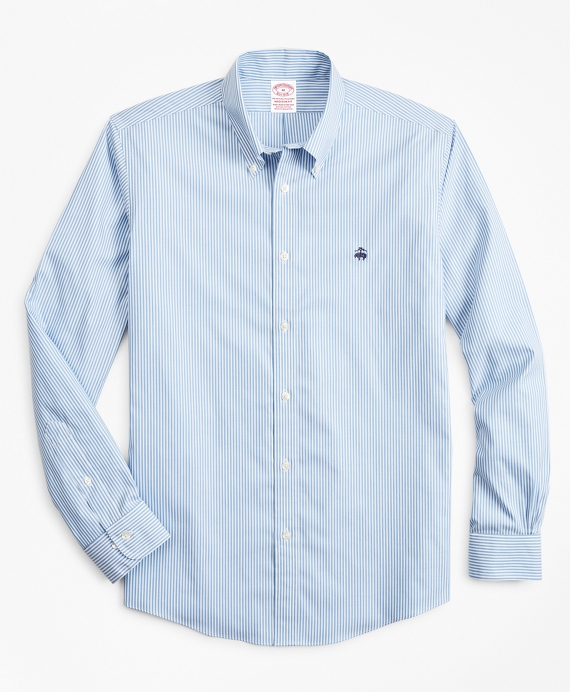 Stretch Madison Relaxed-Fit Sport Shirt, Non-Iron Stripe Light Blue