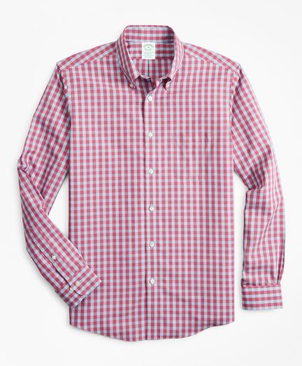 Stretch Milano Slim-Fit Sport Shirt, Non-Iron Gingham