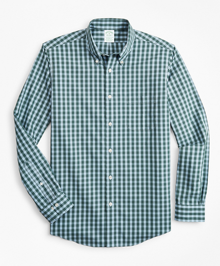 Stretch Milano Slim-Fit Sport Shirt, Non-Iron Gingham