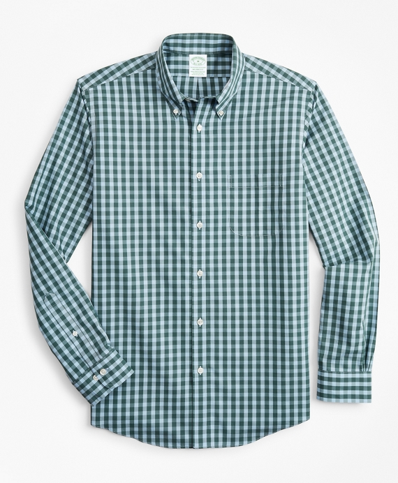 Stretch Milano Slim-Fit Sport Shirt, Non-Iron Gingham Teal