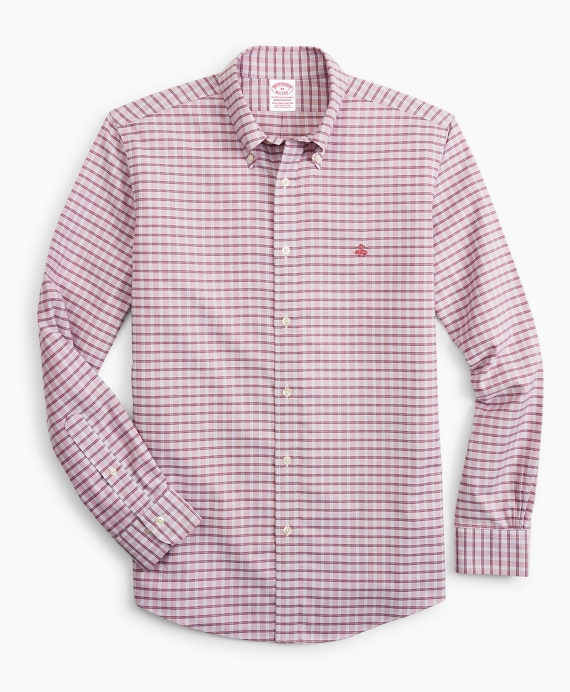 Stretch Madison Relaxed-Fit Sport Shirt, Non-Iron Check Red