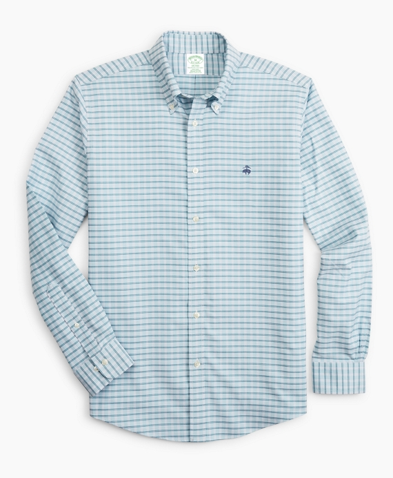 Stretch Milano Slim-Fit Sport Shirt, Non-Iron Check Blue