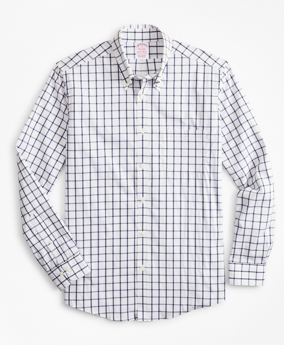 Madison Relaxed-Fit Sport Shirt, Performance Series with COOLMAX®, Windowpane Navy