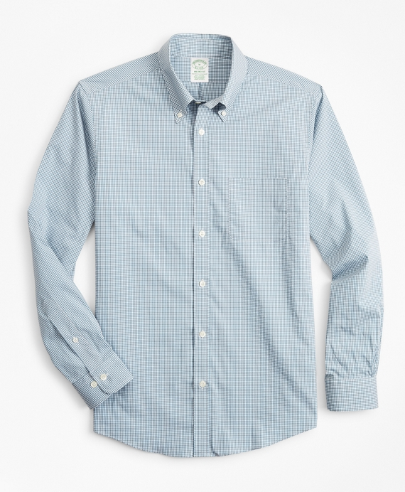 Milano Slim-Fit Sport Shirt, Performance Series with COOLMAX®, Gingham Blue