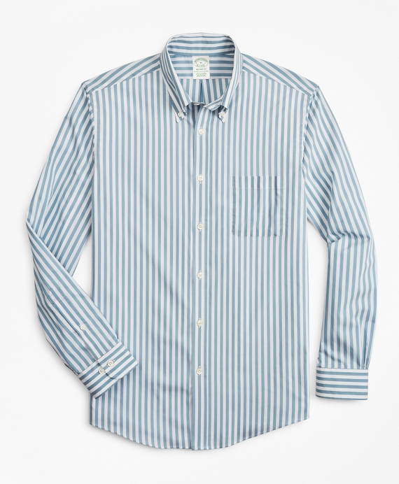 Milano Slim-Fit Sport Shirt, Performance Series with COOLMAX®, Stripe Blue