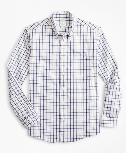 Milano Slim-Fit Sport Shirt, Performance Series with COOLMAX®, Windowpane