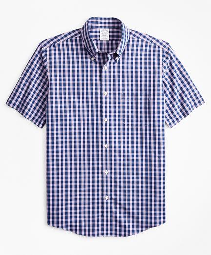 Stretch Regent Regular-Fit  Sport Shirt, Non-Iron Short-Sleeve Gingham