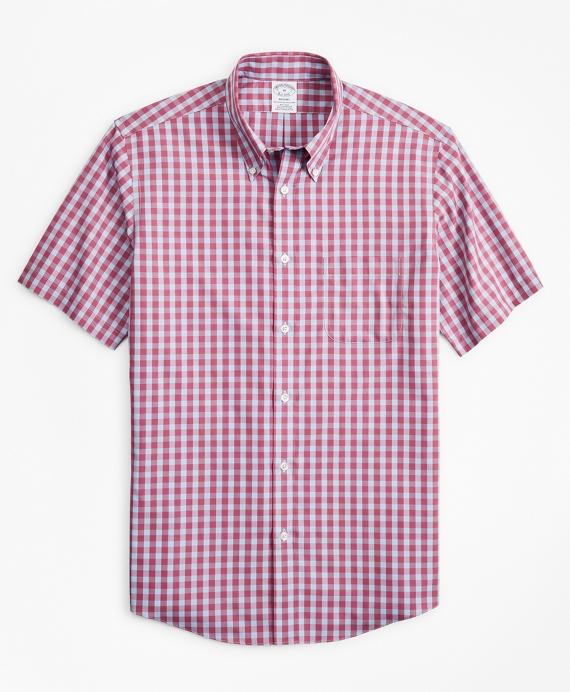 Stretch Regent Regular-Fit  Sport Shirt, Non-Iron Short-Sleeve Gingham Red