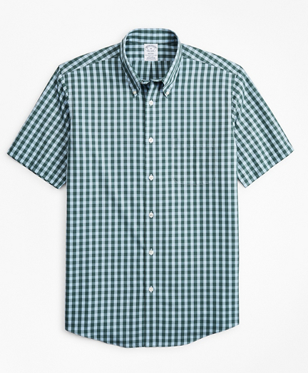 Stretch Regent Fitted Sport Shirt, Non-Iron Short-Sleeve Gingham