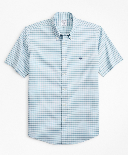 Stretch Regent Fitted Sport Shirt, Non-Iron Short-Sleeve Check