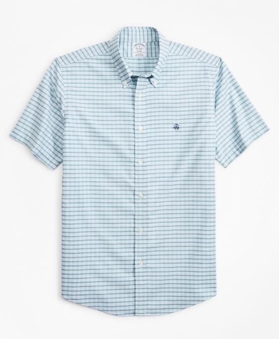 Stretch Regent Regular-Fit  Sport Shirt, Non-Iron Short-Sleeve Check Blue