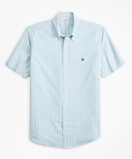 Stretch Regent Fitted Sport Shirt, Non-Iron Short-Sleeve Stripe