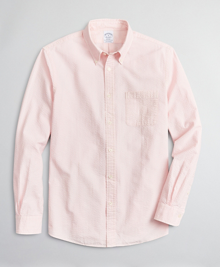 Regent Regular-Fit Sport Shirt, Garment-Dyed Seersucker