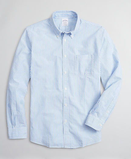 Regent Regular-Fit Sport Shirt, Seersucker Stripe