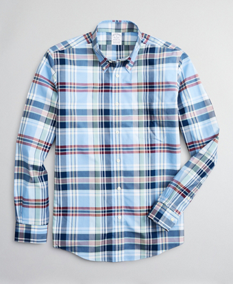 Stretch Regent Fitted Sport Shirt, Non-Iron Multi-Plaid