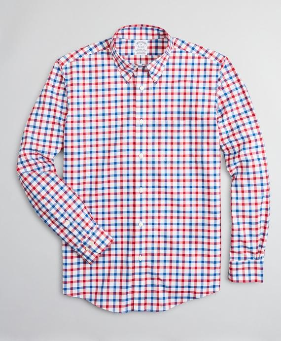 Stretch Regent Regular-Fit Sport Shirt, Non-Iron Large Windowpane Red