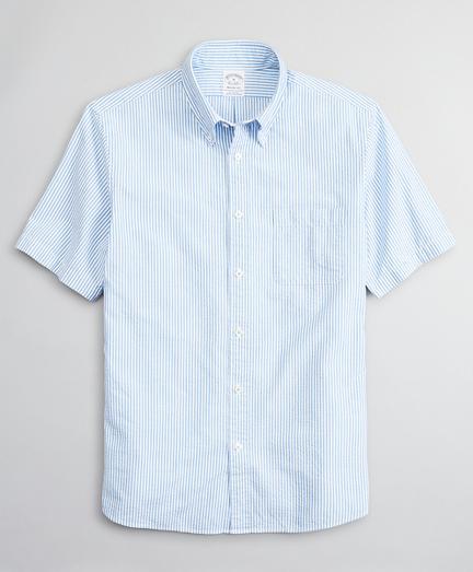 Regent Fitted Short-Sleeve Sport Shirt, Seersucker Stripe