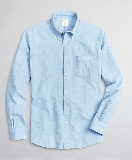 Milano Slim-Fit Sport Shirt, Garment-Dyed Seersucker