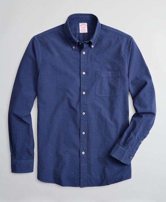 Madison Relaxed-Fit Sport Shirt, Garment-Dyed Seersucker Navy
