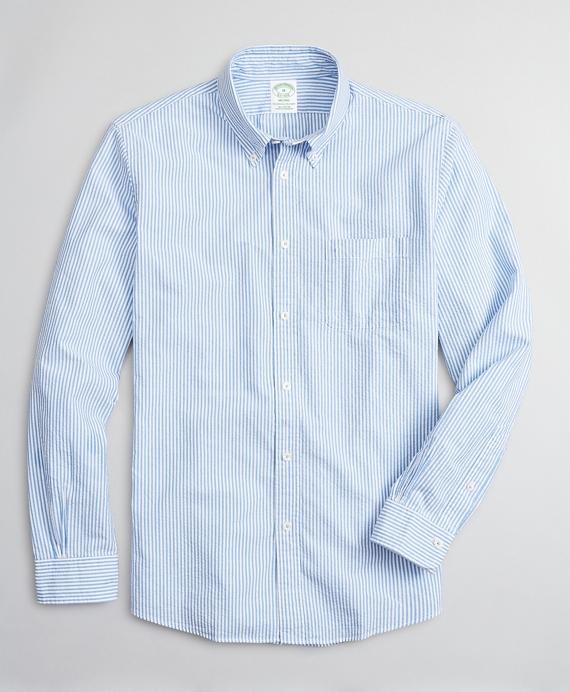 Milano Slim-Fit Sport Shirt, Seersucker Stripe Blue