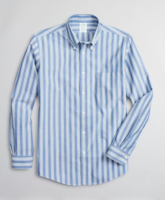 Stretch Milano Slim-Fit Sport Shirt, Non-Iron Awning Stripe Blue