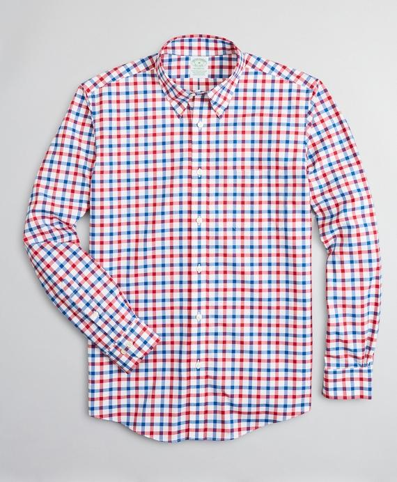 Stretch Milano Slim-Fit Sport Shirt, Non-Iron Large Windowpane Red