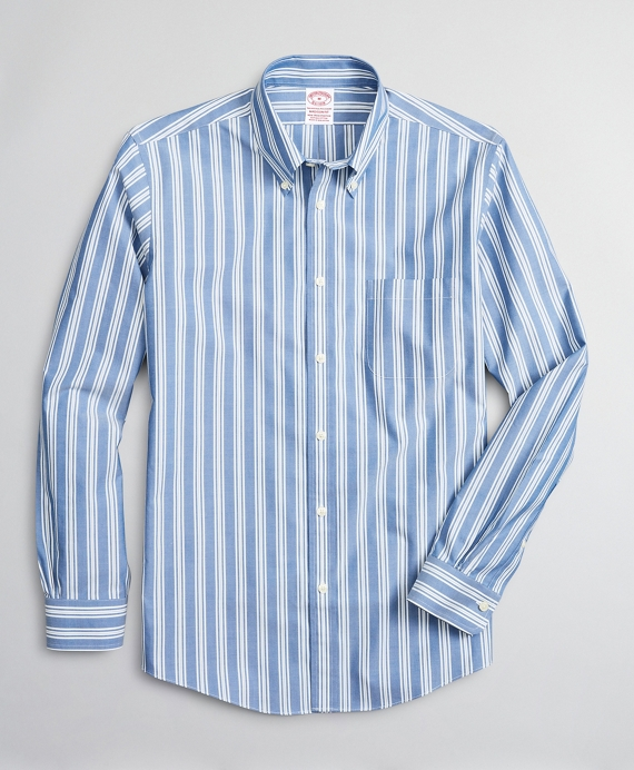 Stretch Madison Relaxed-Fit Sport Shirt, Non-Iron Awning Stripe Blue
