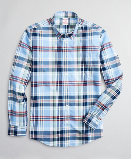 Stretch Madison Classic-Fit Sport Shirt, Non-Iron Multi-Plaid