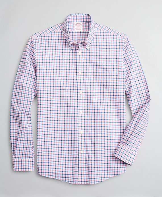 Stretch Madison Relaxed-Fit Sport Shirt, Non-Iron Windowpane Pink