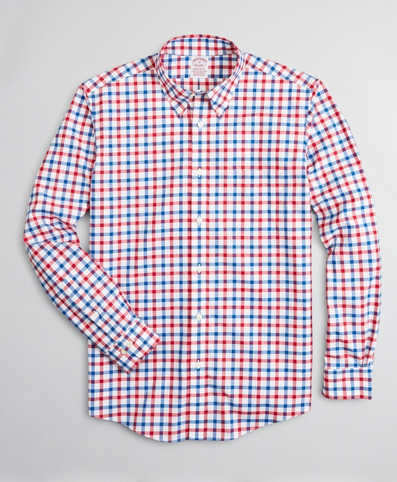 Stretch Madison Relaxed-Fit Sport Shirt, Non-Iron Large Windowpane Red