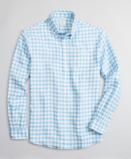 Milano Slim-Fit Sport Shirt, Irish Linen Gingham