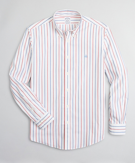 Stretch Regent Fitted Sport Shirt, Non-Iron Stripe