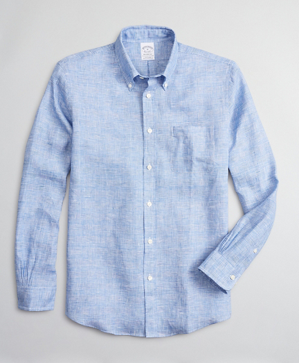 Regent Fitted Sport Shirt, Irish Linen Glen Plaid