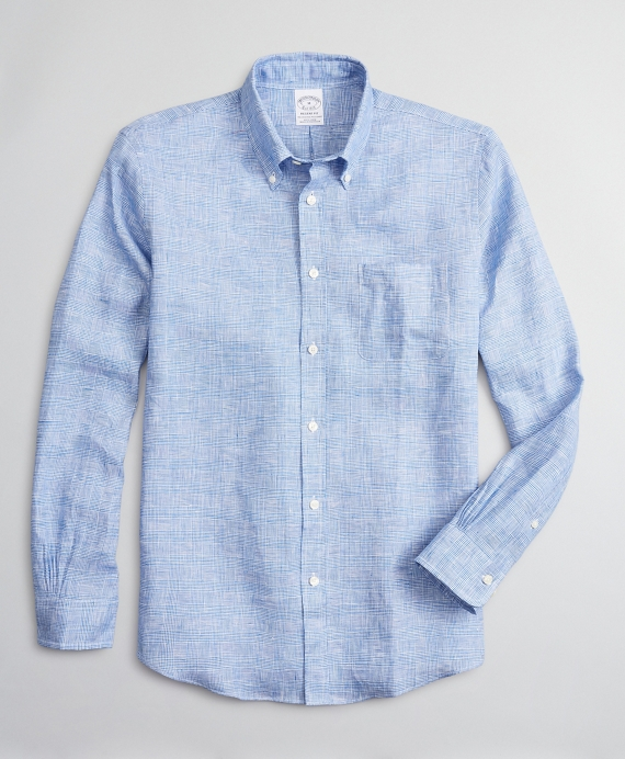 Regent Regular-Fit Sport Shirt, Irish Linen Glen Plaid Blue